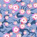 Sakura flowers seamless pattern Nature background with blossom branch of pink flowers. Cherry tree branches japanese wave circle p Royalty Free Stock Photo