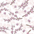 Sakura graphic flower branch color seamless pattern sketch illustration