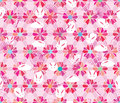 Sakura hexagon flower rabbit fan pink pastel seamless pattern