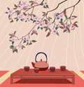 Sakura tea ceremony menu in the spring cherry blossoms Stock Photos