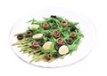 Salad with anchovies and asparagus isolated on a white background Royalty Free Stock Photos
