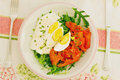 Salad arugula tomatoes eggs mozzarella Stock Photos