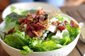 Salad with bacon ceasar salad background Royalty Free Stock Photos