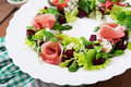 Salad with baked beet, blue cheese, ham Royalty Free Stock Photo