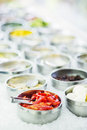 Salad bar buffet fresh mixed vegetables display Royalty Free Stock Photo