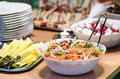 Salad bar buffet and sandwiches closeup Stock Photo
