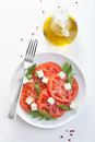 Salad with beef tomatoes and feta cheese Stock Image