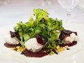 Salad from beetroot and letuce marinated stuffed with whipped goat cheese pistachio nuts Stock Photography