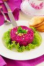 A salad of beets and nuts selective focus Royalty Free Stock Photography
