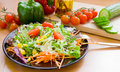 Salad on black dish Stock Photos