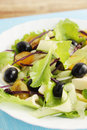 Salad with blue cabbage tasty of tomatoes cucumber olives and cheese Stock Image