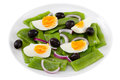Salad with boiled beans and egg on the plate Stock Photography