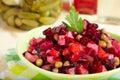 Salad with boiled vegetables. Vinaigrette. Vegetarian food. Royalty Free Stock Photo