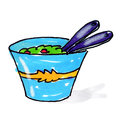 Salad Bowl Illustration Royalty Free Stock Photo