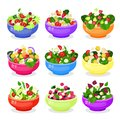 Salad in bowl vector icon set isolated from background