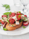Salad on bread vegetable with cheese and chicken selective focus Stock Photo