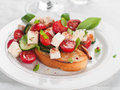 Salad on bread vegetable with cheese and chicken selective focus Royalty Free Stock Image
