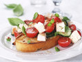 Salad on bread vegetable with cheese and chicken selective focus Royalty Free Stock Photo