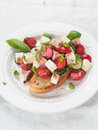 Salad on bread vegetable with cheese and chicken selective focus Royalty Free Stock Images