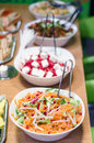 Salad buffet different on a table Royalty Free Stock Photo