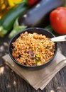 Salad with bulgur on wooden ground Royalty Free Stock Photo