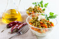 Salad with canned peas and boiled vegetables Royalty Free Stock Photography