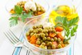 Salad with canned peas and boiled vegetables Stock Photography