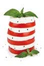 Salad caprese with alhabaca on white background Stock Photo