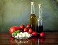 Salad Capri style: tomatoes, mozzarella, basil Royalty Free Stock Photo