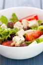 Salad cheese with vegetables in white bowl Royalty Free Stock Photo