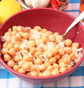 Salad of chick peas a fresh with onions Stock Photo