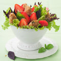Salad with chicken and strawberry selective focus Royalty Free Stock Photos