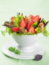 Salad with chicken and strawberry selective focus Royalty Free Stock Images
