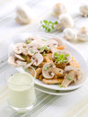 Salad chisken breast and mushroom with sauce selective focus Stock Photo