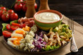 Salad cobb- avocado, tomatoes, bacon, chicken and onion.