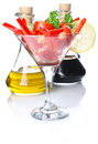 Salad cocktail in goblet Stock Photo