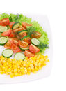 Salad with corn and vegetables whole background Stock Photography
