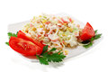 Salad of crab meat on a white background Stock Photos