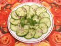 Salad of cucumber a with onions Royalty Free Stock Photography