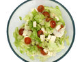Salad with feta cheese in a glass bowl Royalty Free Stock Image