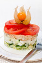 Salad of fish and tomato Royalty Free Stock Images