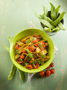 Salad with flat green beans Royalty Free Stock Image