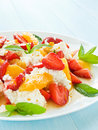Salad fresh with fruits berries and cottage cheese shallow dof Royalty Free Stock Photos