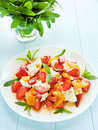 Salad fresh with fruits berries and cottage cheese shallow dof Stock Photography