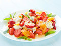 Salad fresh with fruits berries and cottage cheese shallow dof Royalty Free Stock Photo