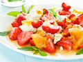 Salad fresh with fruits berries and cottage cheese shallow dof Royalty Free Stock Image