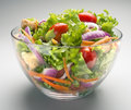 Salad fresh salas in fine glass bowl Royalty Free Stock Photo