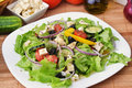 Salad with fresh vegetables feta cheese and close up Stock Images