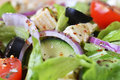 Salad with fresh vegetables feta cheese and close up Stock Photography