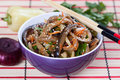 Salad of fried eggplant in Asian style Royalty Free Stock Photo